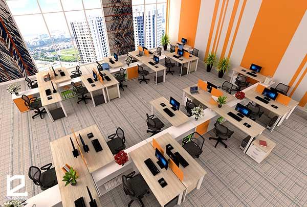 Thiết kế văn phòng sử dụng bàn làm việc có vách ngăn