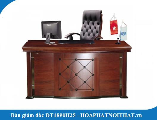 Mẫu bàn lãnh đạo gỗ công nghiệp DT1890H25 đẹp không hề kém cạnh gỗ tự nhiên