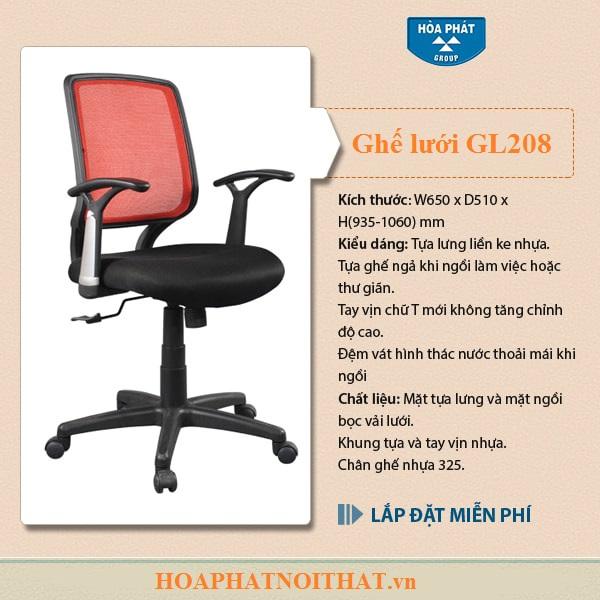 Mẫu ghế lưới Hòa Phát GL208 thoải mái, kích thước chuẩn