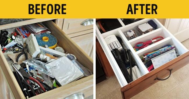 Nên sắp xếp gọn gàng những đồ vật trong hộc tủ